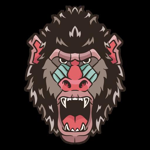 Mandrill face illustration Transparent PNG