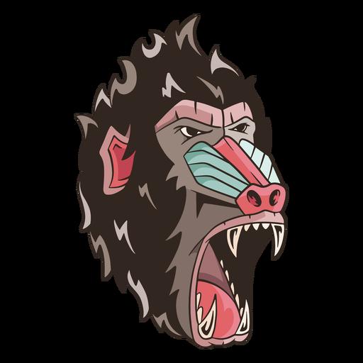 Mean mandrill illustration Transparent PNG