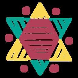 Doodle colorido ornamentado com estrela de David