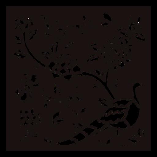 Peacock flowers composition stencil Transparent PNG