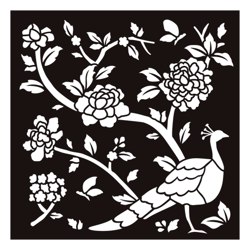 Peacock flowers composition stencil