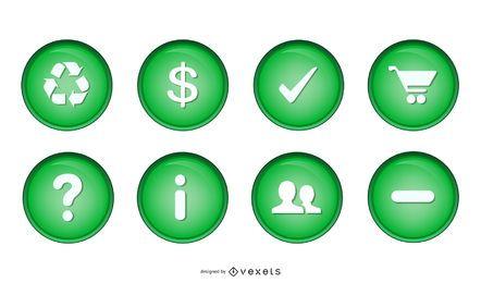 Vários ícones de esfera verde