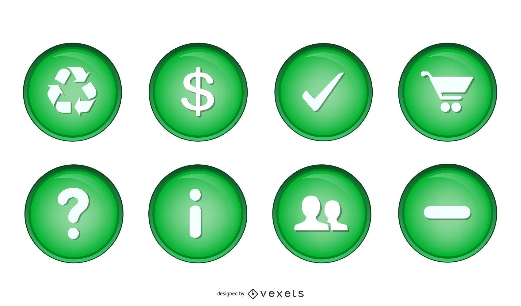 Varios iconos de orbe verde