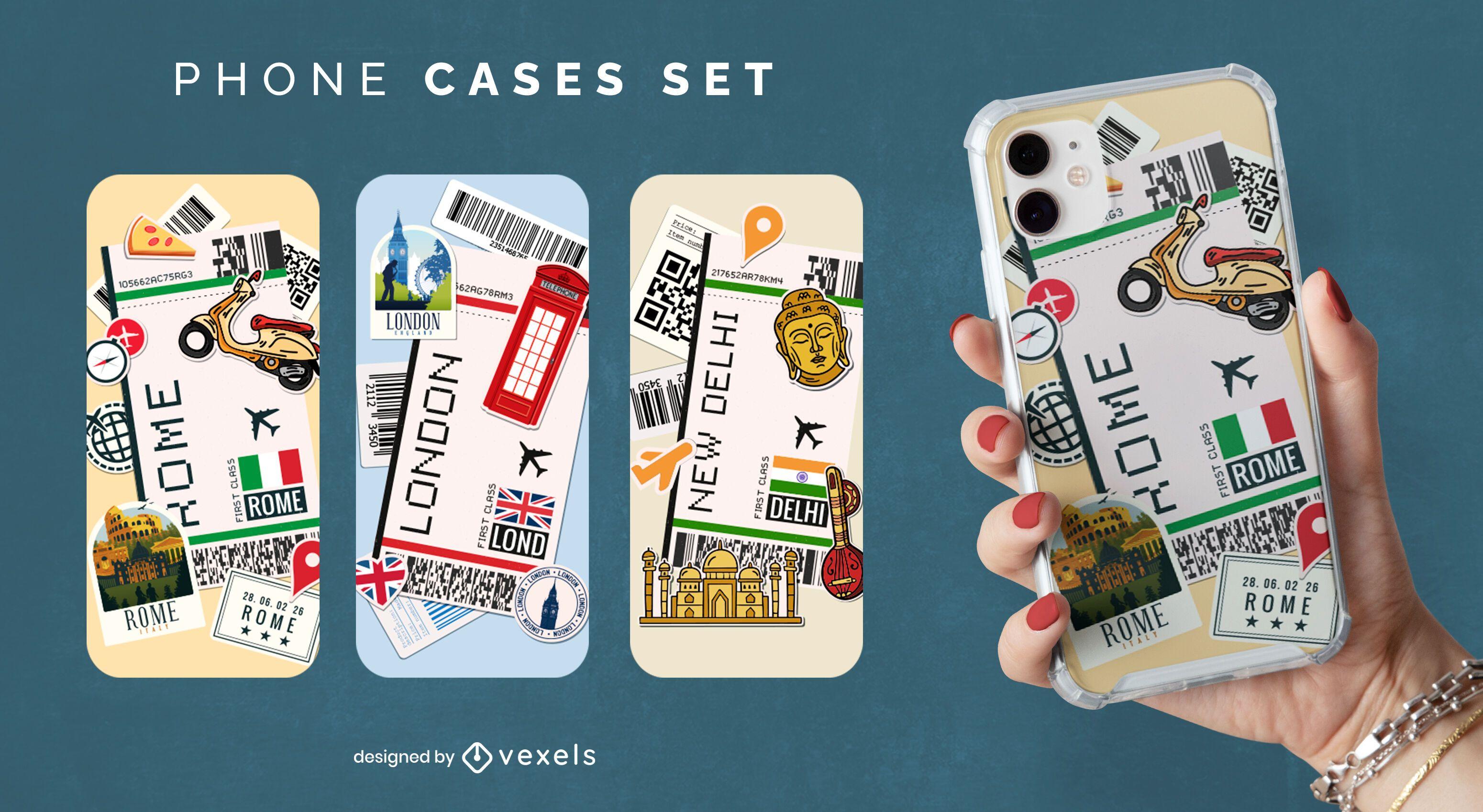 Conjunto de capa de telefone de viagem