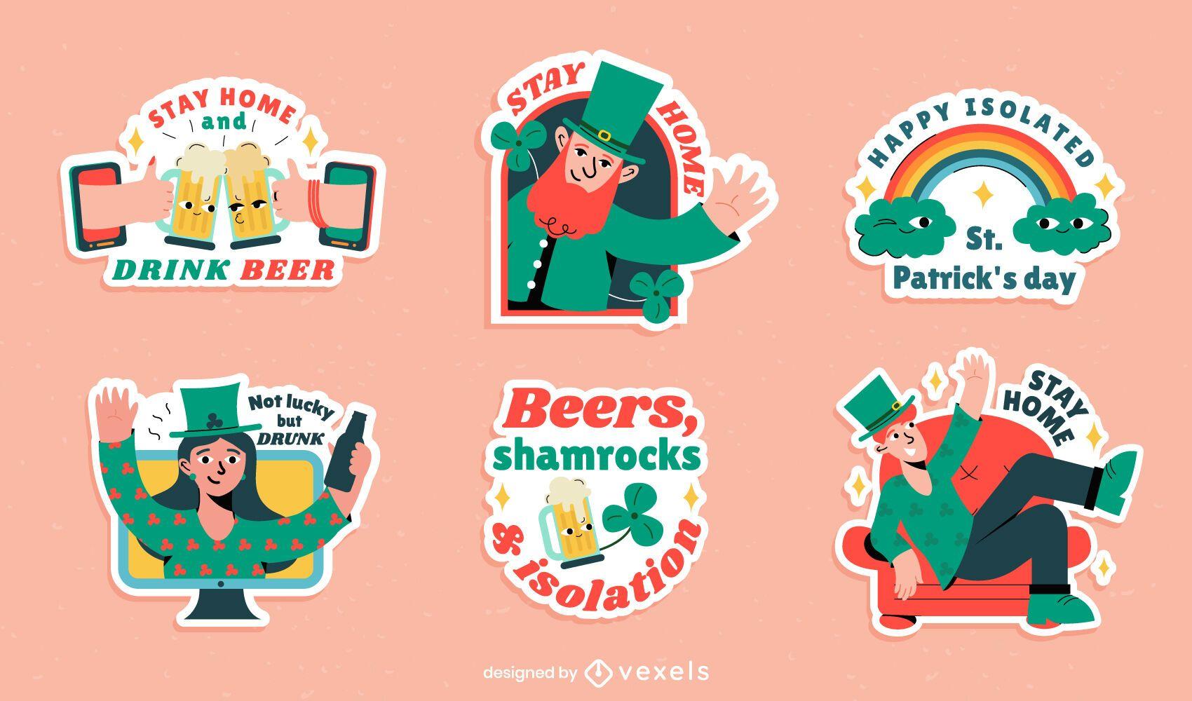 St patricks day isolation sticker set