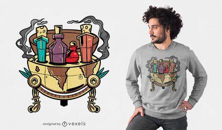 Diseño de camiseta de globo de pociones mágicas.