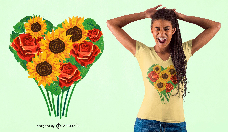 Diseño de camiseta de ramo de corazón