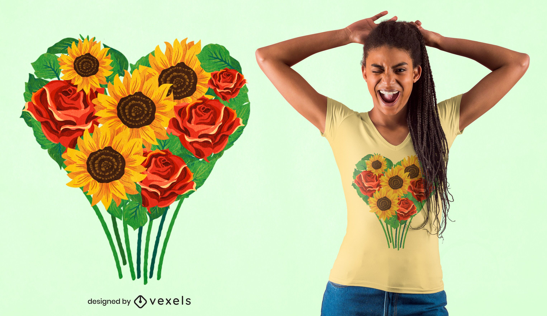 Heart bouquet t-shirt design