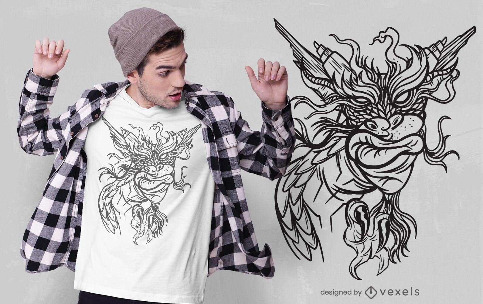 Design atrevido de t-shirt com dragão