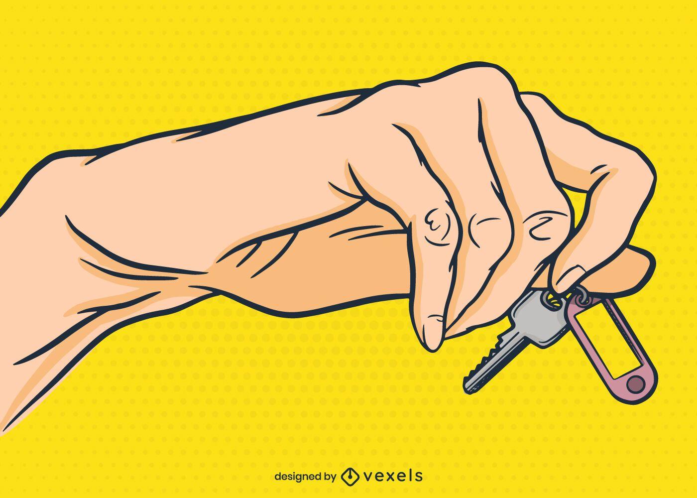 Hand with key illustration design