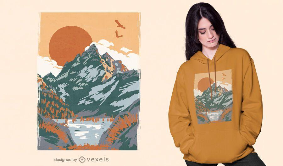 Projeto de camiseta vintage com paisagem