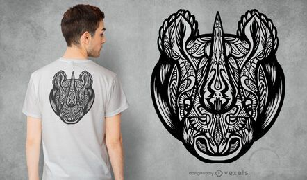 Design de t-shirt mandala rinoceronte