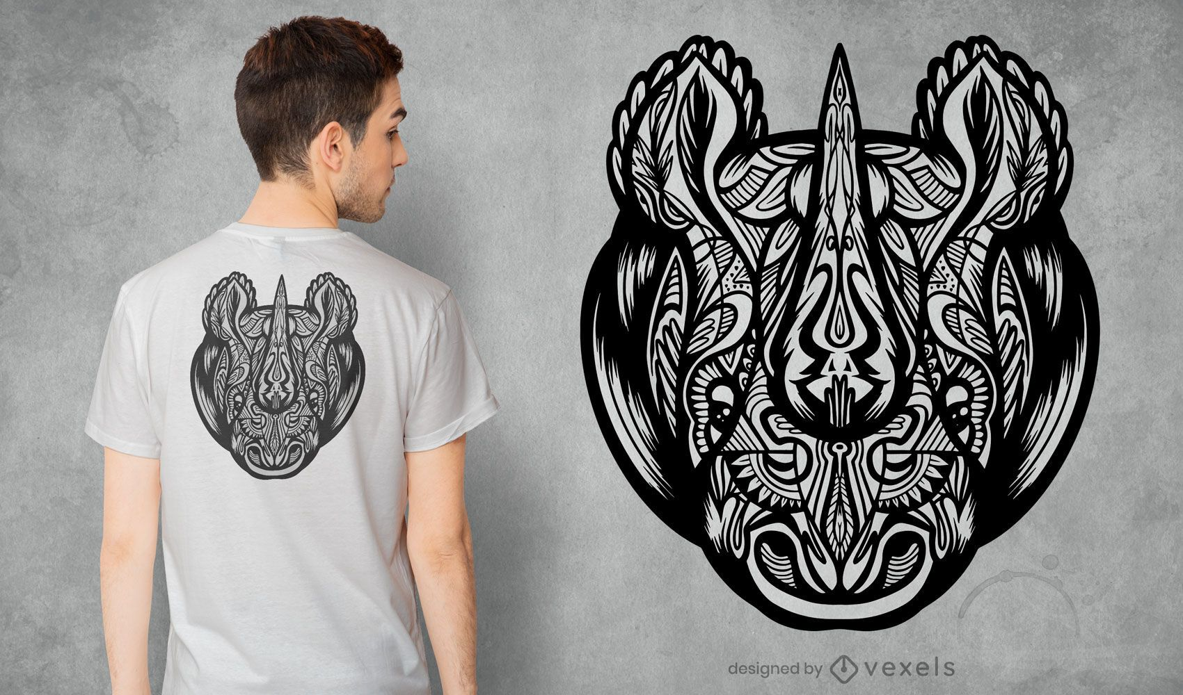 Diseño de camiseta mandala rinoceronte