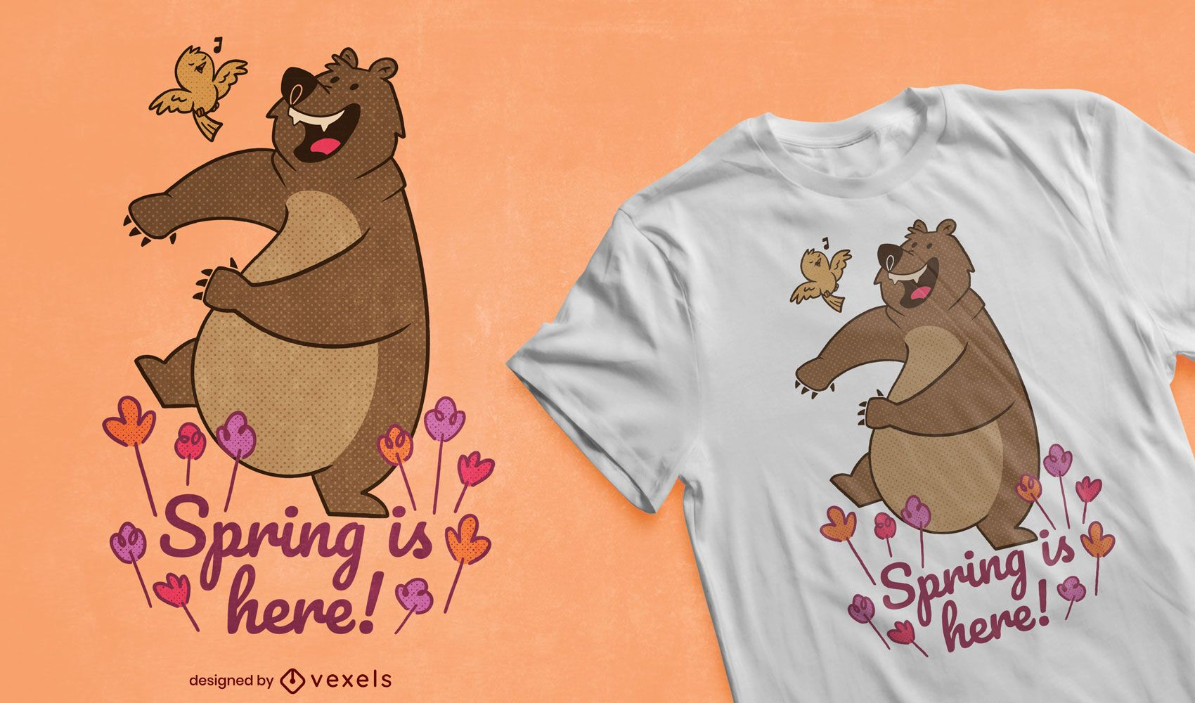 La primavera está aquí diseño de camiseta.