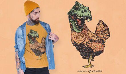 Diseño de camiseta de pollo T Rex