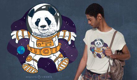 Design de camiseta panda espacial