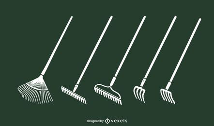 Garden rakes vector set