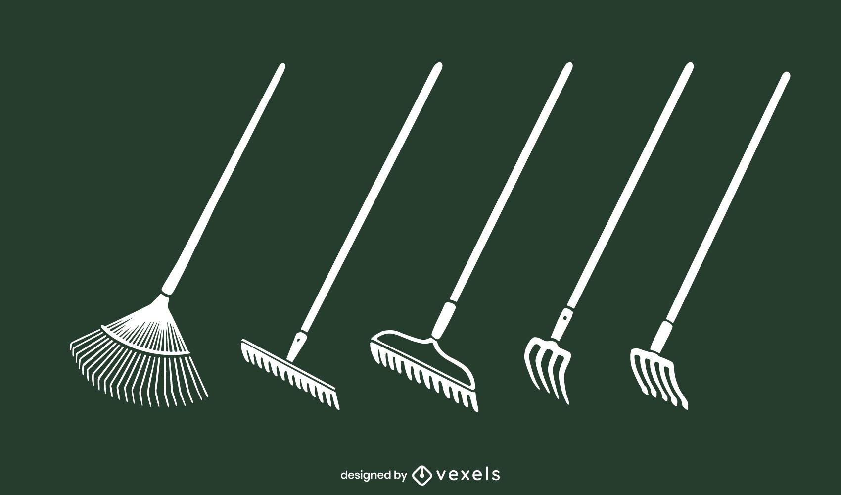 Conjunto de vectores de rastrillos de jardín