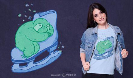 Design de camiseta para preguiça de patinação no gelo