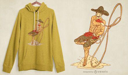 Diseño de camiseta de vaquero mexicano.
