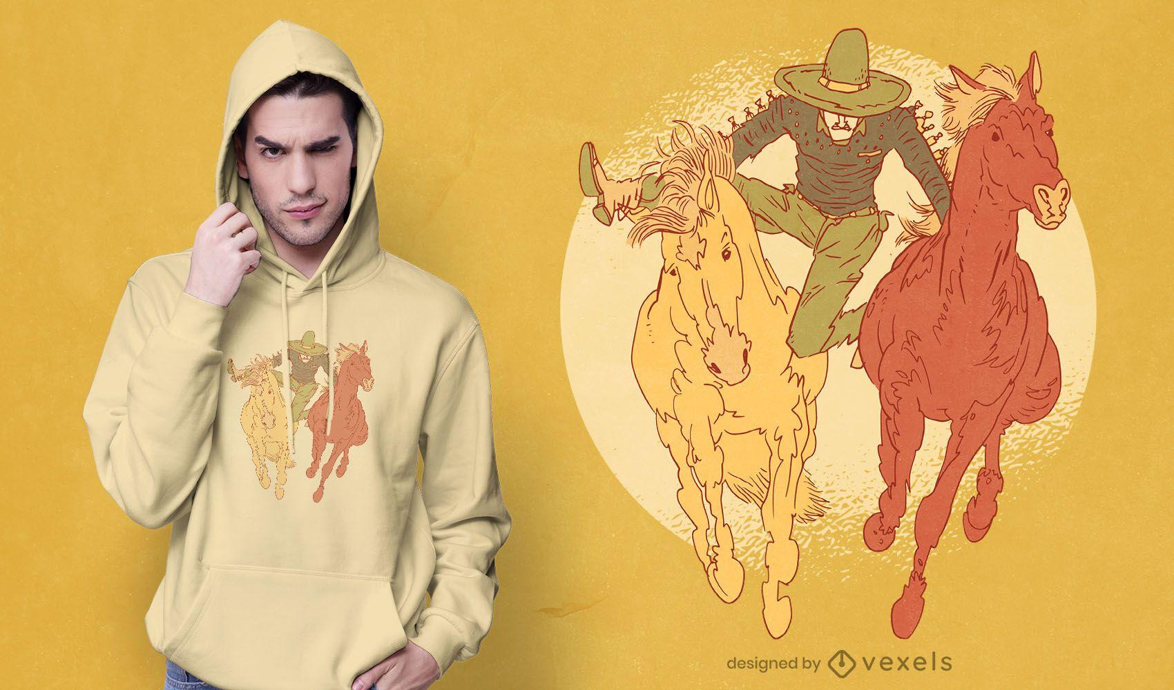Diseño de camiseta de rodeo mexicano.