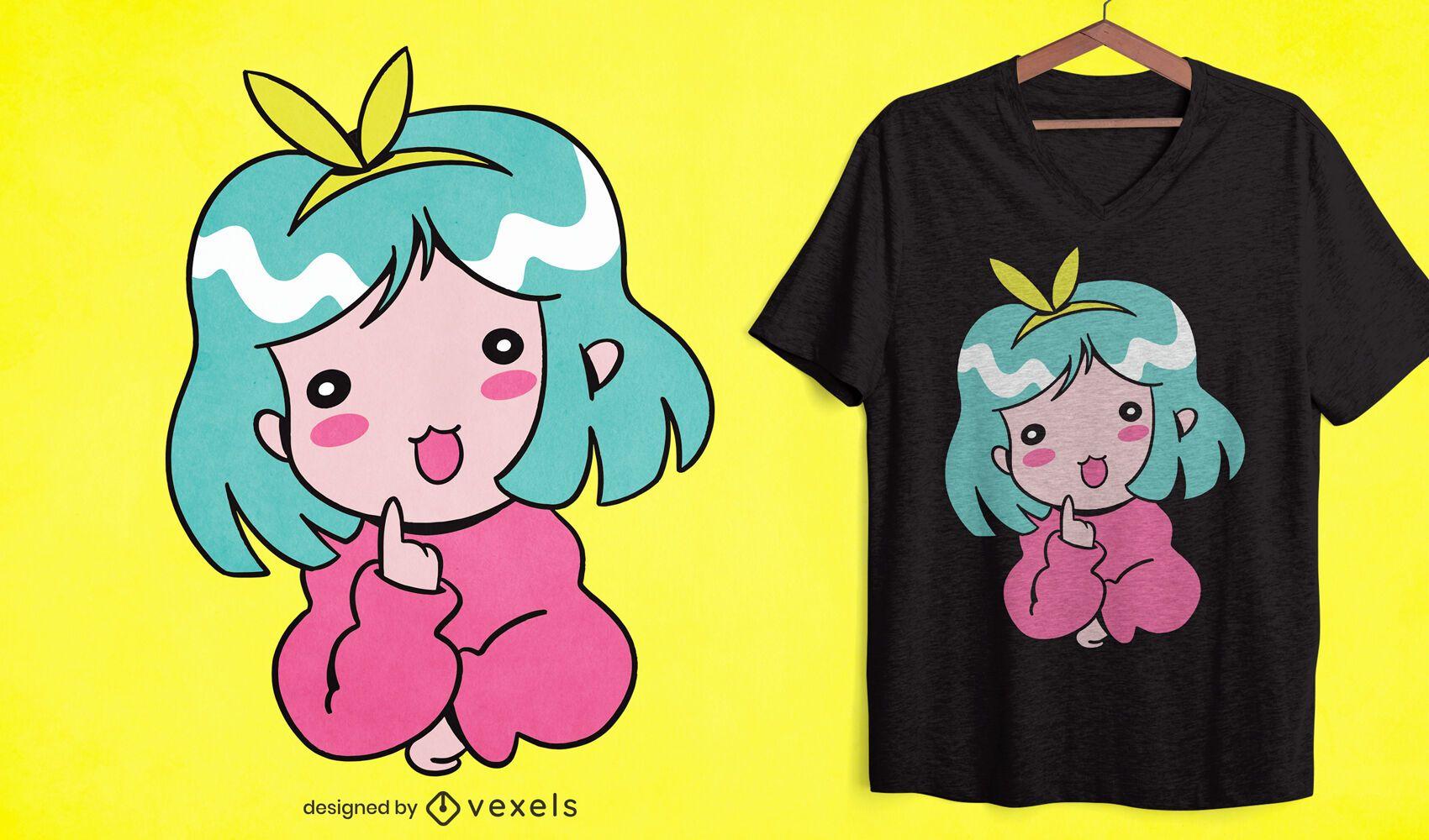 Diseño de camiseta de anime girl