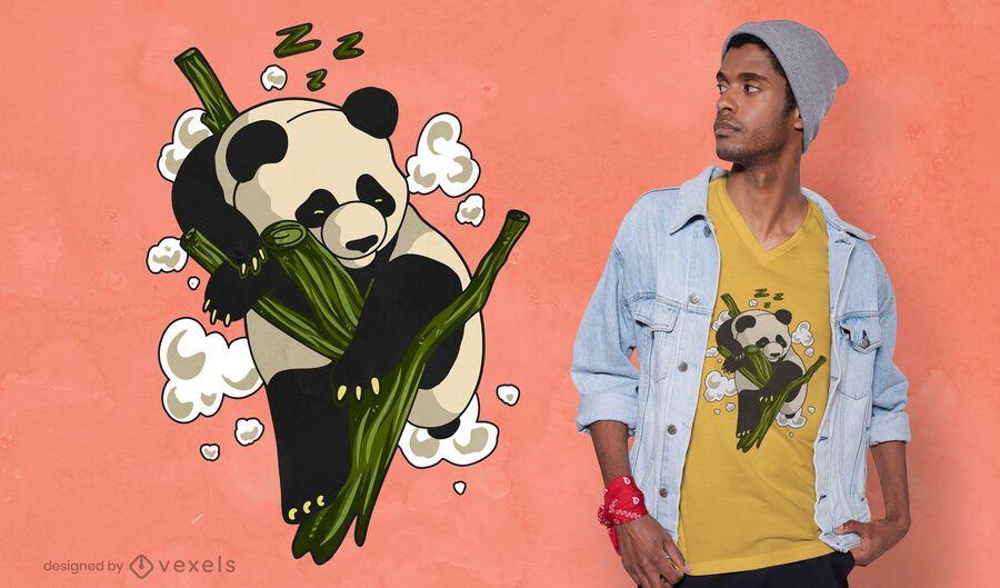 Diseño de camiseta de panda durmiendo