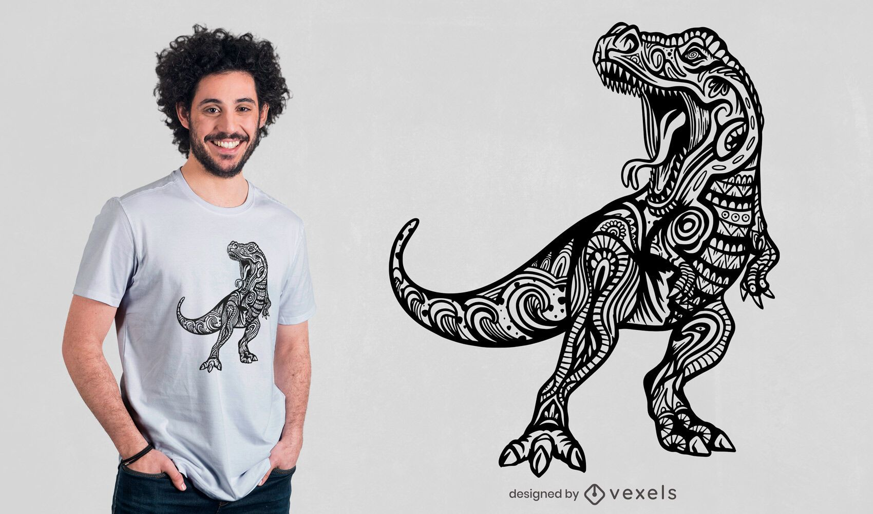 Diseño de camiseta Mandala t-rex