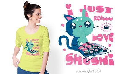 Diseño de camiseta cat sushi