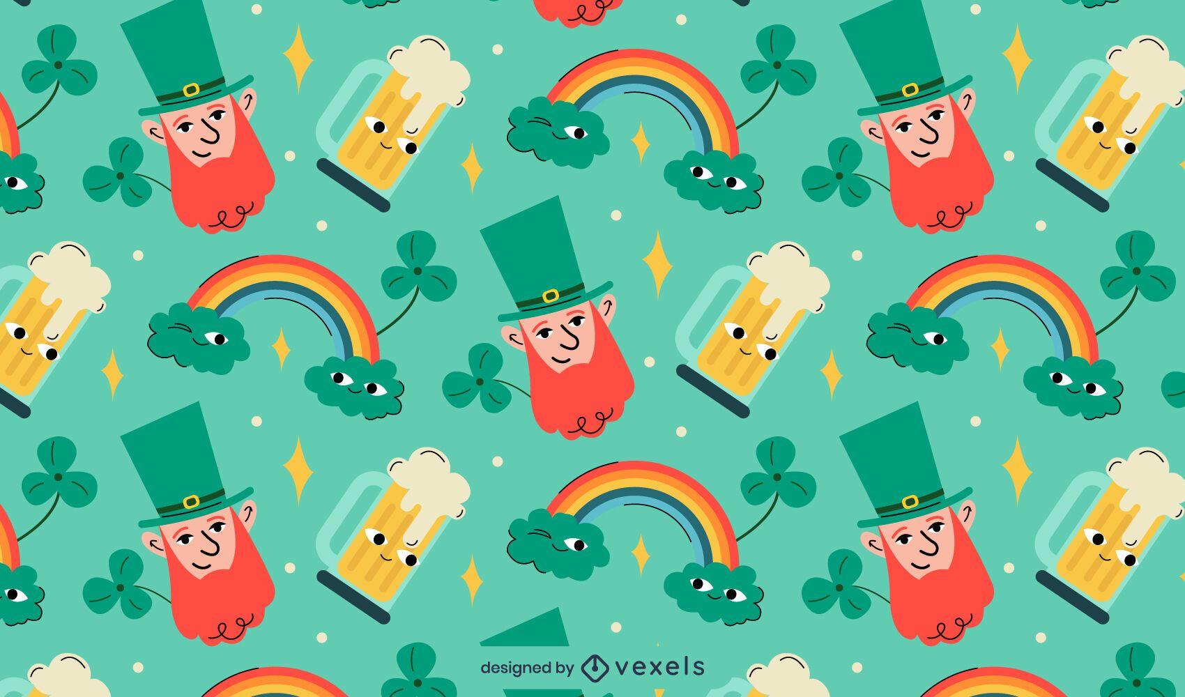 St patricks cartoons pattern design