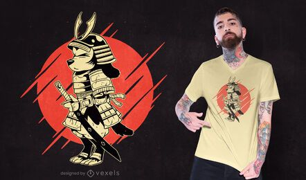 Diseño de camiseta de perro samurai