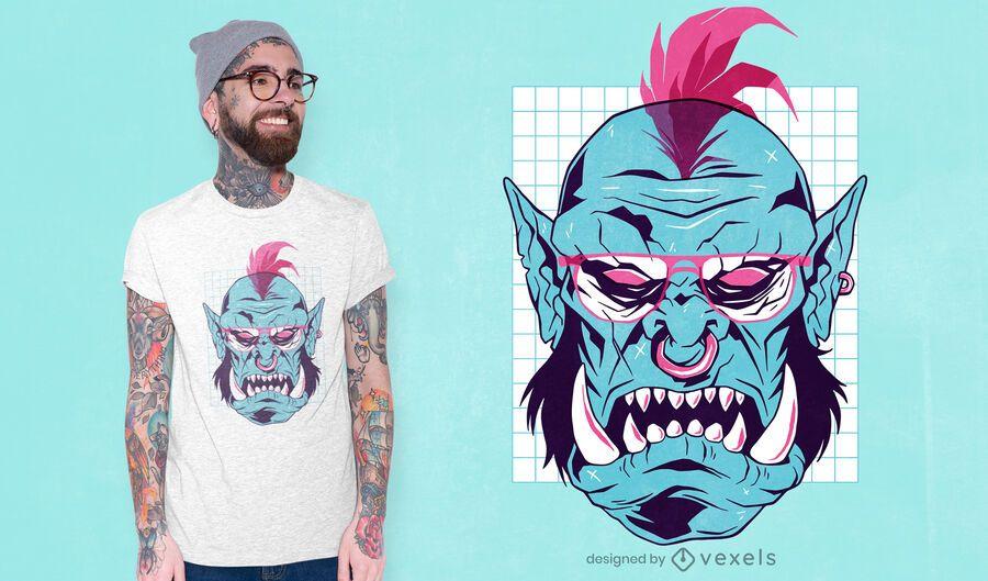 Diseño de camiseta vaporwave orc