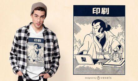 Desenho de t-shirt com impressão 3d Samurai