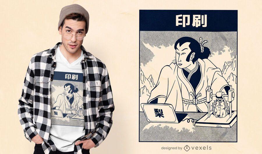 Samurai 3d Druck T-Shirt Design
