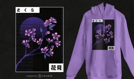 Design de camiseta com flor de cerejeira Vaporwave