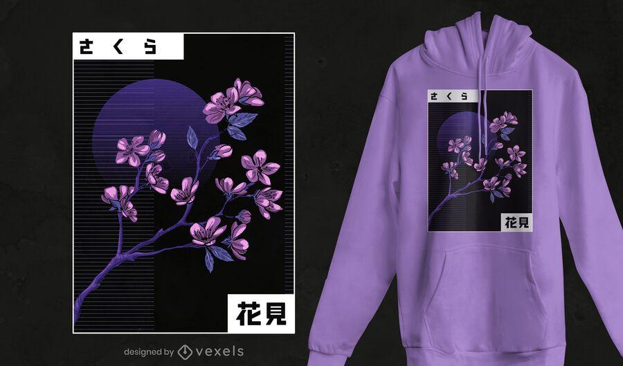 Vaporwave cherry blossom t-shirt design
