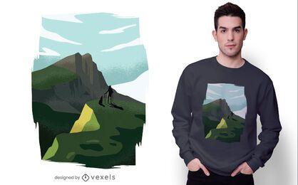 Design de camiseta de caminhada da Munros