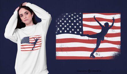 Diseño de camiseta de patinaje sobre hielo de EE. UU.