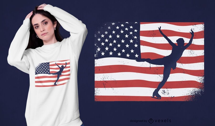 Eislaufen USA T-Shirt Design
