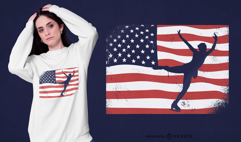 Ice skating USA t-shirt design