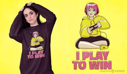 Eu jogo para ganhar o design de camisetas