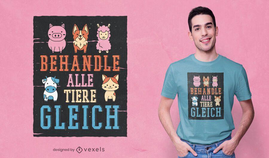 Diseño de camiseta de amor animal.
