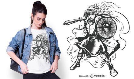 Design de camiseta de cavaleiro feminino