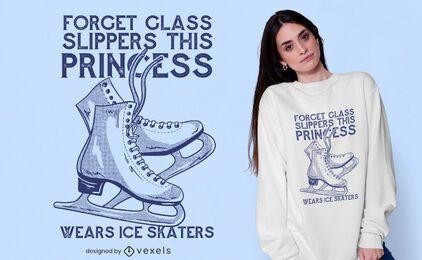 Diseño de camiseta de princesa patinadora sobre hielo.