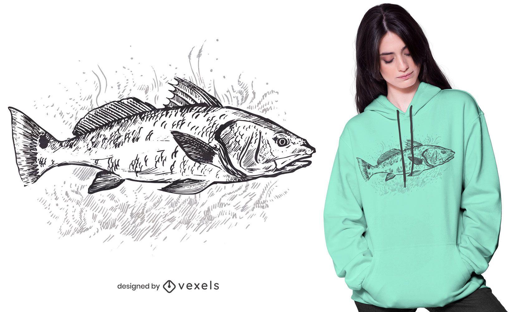 Redfish hand-drawn t-shirt design