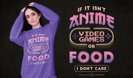 Diseño de camiseta de videojuegos de anime.
