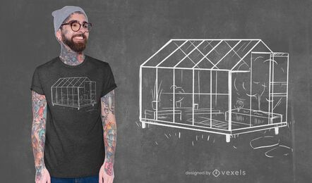 Diseño de camiseta de bosquejo de invernadero