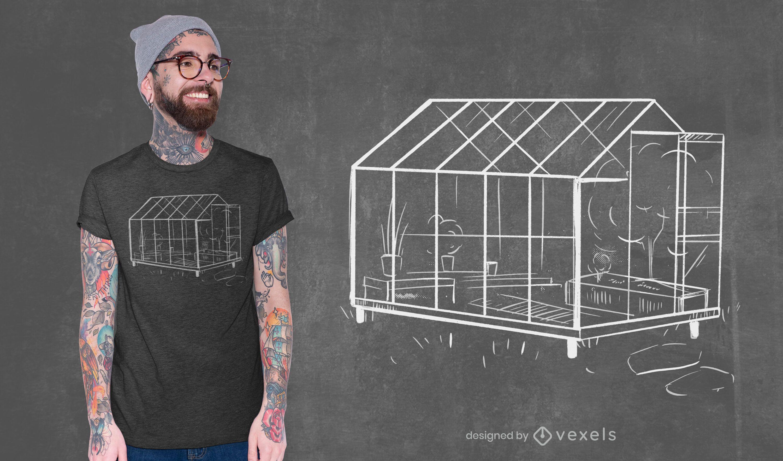 Dise?o de camiseta de bosquejo de invernadero