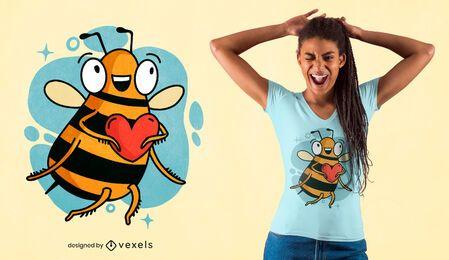 Design de camiseta com coração de abelha