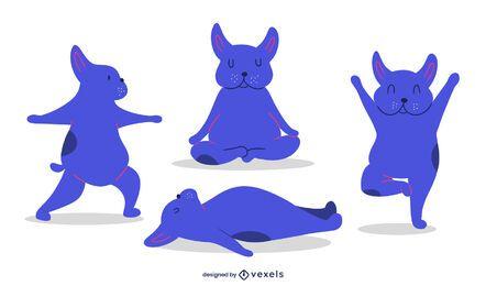 Conjunto de ilustração de poses de ioga de cachorro